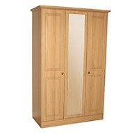 Romany Pre-Assembled Oak effect 3 door Mirror wardrobe (H)1952mm (W)1270mm