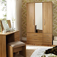 B&Q Lima Natural Oak effect Dressing table (H)744mm (W)922mm