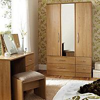 Lima Natural Oak effect Rectangular Framed Framed mirror (W)670mm