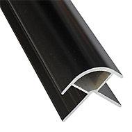 Splashwall Black Panel external corner joint, (L)2420mm