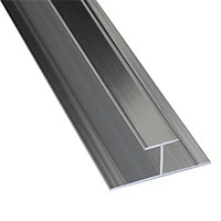 Splashwall Silver effect H-shaped Panel straight joint, (L)2420mm
