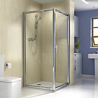 Splashwall Natural turin marble effect 3 sided Shower Panel kit (L)2420mm (W)1200mm (T)11mm