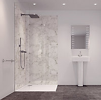 Splashwall Tuscan white 2 sided Shower Panel kit (L)2420mm (W)1200mm (T)11mm