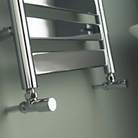 Kudox Linear 240W Silver Towel warmer (H)950mm (W)500mm