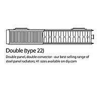 Kudox Type 22 double Panel radiator White, (H)600mm (W)1100mm