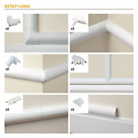 D-Line White Micro trunking accessory, Pack of 13
