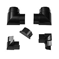 D-Line Black 50mm Trunking accessory, Pack of 5