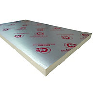 Celotex Foil faced polyisocyanurate (PIR) Insulation board (L)2.4m (W)1.2m (T)50mm
