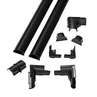 D-Line Black 30mm Semi-circle Trunking length, (L)2m, Pack of 2
