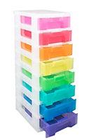 Multicolour 56L Plastic Drawer tower unit