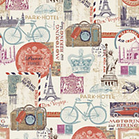 Muriva Multicolour Postcards Smooth Wallpaper