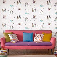 Muriva Roald dahl Multicolour Golden ticket Embossed Wallpaper