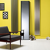 Kudox Cassano Mirror Vertical Designer radiator Black (H)1800 mm (W)400 mm