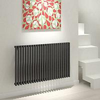 Kudox Xylo Horizontal Designer radiator Anthracite (H)600 mm (W)980 mm
