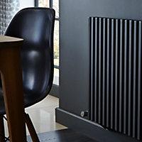 Kudox Xylo Horizontal Designer radiator Anthracite (H)600 mm (W)1180 mm