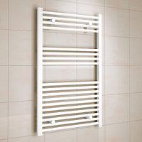 Kudox 458W Electric White Towel warmer (H)1000mm (W)600mm
