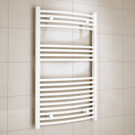 Kudox 458W Electric White Towel warmer (H)1000mm (W)600mm