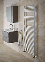 Kudox 456W Electric White Towel warmer (H)1200mm (W)450mm