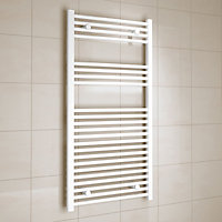 Kudox 573W Electric White Towel warmer (H)1200mm (W)600mm