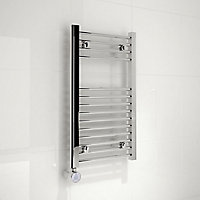 Kudox 200W Electric Silver Towel warmer (H)700mm (W)400mm