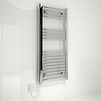Kudox 250W Electric Silver Towel warmer (H)1000mm (W)450mm