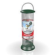 Peckish Green Steel 0.7L All weather small peanut feeder (H)340mm (W)1650mm (L)540mm