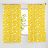 Minion Yellow Unlined Pencil pleat Curtains (W)167cm (L)137cm, Pair