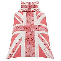 Skybrands Union jack flower Pink Single Bedding set
