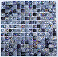 Vodka Purple Glass & marble Mosaic tile, (L)300mm (W)300mm