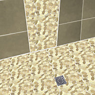 Brighton White & purple Natural stone effect Stone Mosaic tile, (L)300mm (W)300mm
