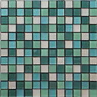 Acapulco Multicolour Glass & marble Mosaic tile, (L)300mm (W)300mm