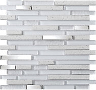 Quartz Quartz Stone effect Glass & metal Mosaic tile, (L)306mm (W)303mm