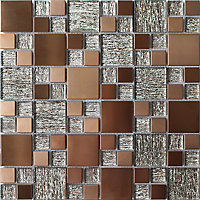 Copper luxe Copper effect Glass & metal Mosaic tile, (L)300mm (W)300mm