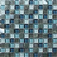 Brixton Blue Stone effect Glass & marble Mosaic tile, (L)300mm (W)300mm