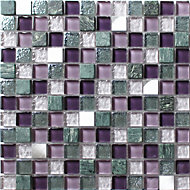 Camden Purple Stone effect Glass & marble Mosaic tile, (L)300mm (W)300mm
