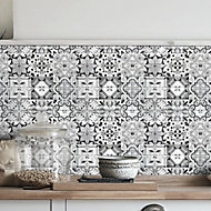 Geo Black & white Glass Mosaic tile sheets, (L)320mm (W)320mm