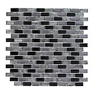 Paris Black & white Glass Mosaic tile, (L)304mm (W)300mm