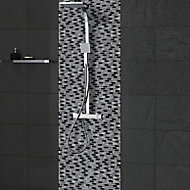 Paris Black & white Glass Mosaic tile, (L)304mm (W)300mm