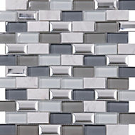 Gatsby Blue & grey Marble effect Glass & stone Mosaic tile, (L)300mm (W)300mm