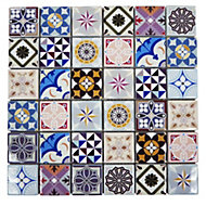 Vintage Moroccan style Glass Mosaic tile, (L)300mm (W)300mm