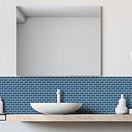 Mini Metro Petrol blue Porcelain Mosaic tile, (L)296mm (W)296mm
