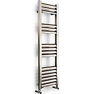 Accuro Korle Champagne Vertical Towel warmer Brushed aluminium (H)1000 mm (W)300 mm