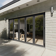 Crystal Glazed Grey Aluminium RH External Bi-fold Door set, (H)2104mm (W)3604mm