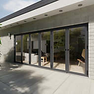 Crystal Glazed Grey Aluminium LH External Bi-fold Door set, (H)2104mm (W)4804mm