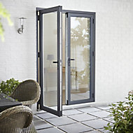Crystal 1 Lite Glazed Grey Aluminium External French Door set, (H)2104mm (W)1204mm
