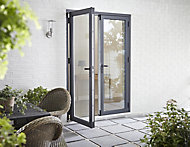 Crystal 1 Lite Glazed Grey Aluminium External French Door set, (H)2104mm (W)1504mm