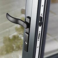 Crystal 1 Lite Glazed Grey Aluminium External French Door set, (H)2104mm (W)1504mm
