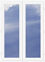 Crystal 1 Lite Glazed White uPVC External French Door set, (H)2090mm (W)1490mm