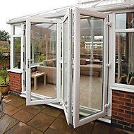 Crystal Clear Glazed White PVCu External Bi-fold Door, (H)2090mm (W)2390mm