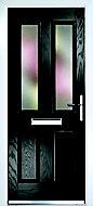 Crystal Frosted Glazed Black Composite LH External Front Door set, (H)2055mm (W)920mm